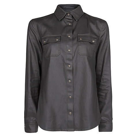 Buy Mango Coated Shirt, Black Online at johnlewis.com