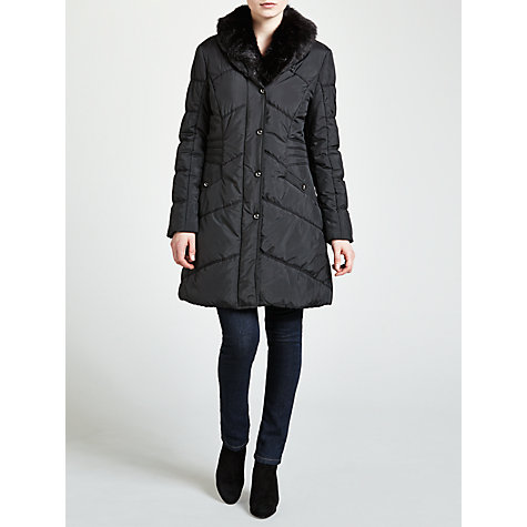 Buy Gerry Weber Quilted Coat With Faux Fur Collar, Black Online at johnlewis.com