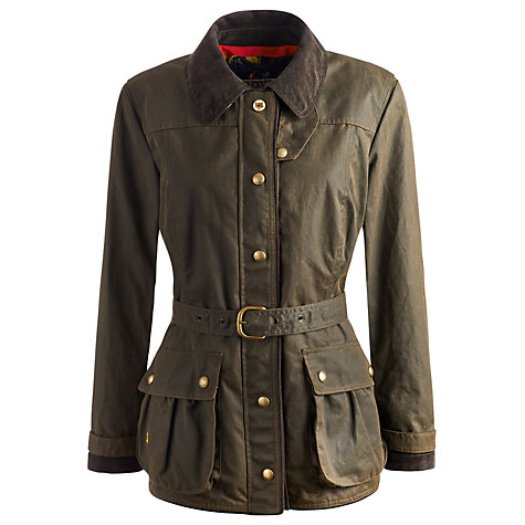 Buy Joules Milbury Waxed Jacket, Green Online at johnlewis.com