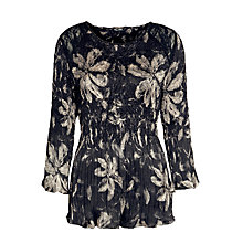 Buy Gerry Weber Print Crinkle Tunic Top, Black/Ecru Online at johnlewis.com