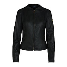 Buy Armani Jeans Zip Thru Leather Biker Jacket, Black Online at johnlewis.com