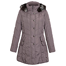 Buy Gerry Weber Quilted Coat with Faux Fur Trim Hood, Black Online at johnlewis.com