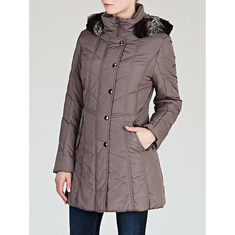 Buy Gerry Weber Quilted Coat with Faux Fur Trim Hood Online at johnlewis.com