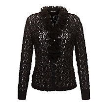 Buy Gerry Weber Lace Ruffle Front Blouse, Black Online at johnlewis.com