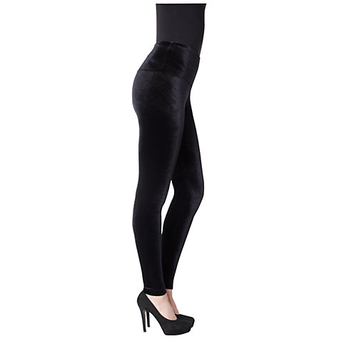 Buy Lysse Stretch Velvet Ankle Leggings, Black Online at johnlewis.com