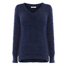 Buy Oasis Fluffy V-Neck Jumper, Navy Online at johnlewis.com