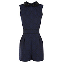 Buy Warehouse Beaded Collar Playsuit, Bright Blue Online at johnlewis.com