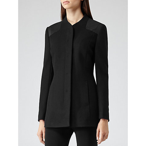 Buy Reiss Bellow Contrast Shoulder Slim Jacket, Black Online at johnlewis.com