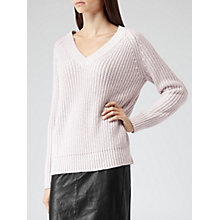 Buy Reiss Willaston Shimmer V-Neck Knit, Blush Online at johnlewis.com