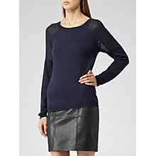 Buy Reiss Mesh Sleeve Jumper, Blue Online at johnlewis.com