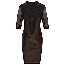Buy Reiss High Neck Fitted Dress, Metallics Online at johnlewis.com