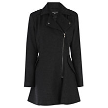 Buy Warehouse Zip Flared Coat, Dark Grey Online at johnlewis.com