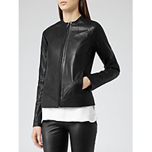 Buy Reiss Kinney Zip Through Leather Jacket, Black Online at johnlewis.com