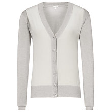 Buy Reiss Itolo Silk Front Cardigan, Grey Online at johnlewis.com