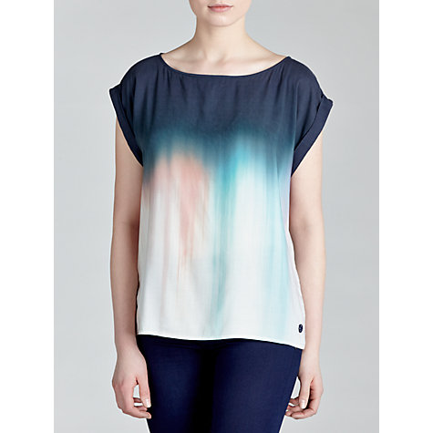 Buy Armani Jeans Dip Dye Silk Top, Blue Online at johnlewis.com