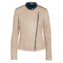 Buy Armani Jeans Leather Jacket, Black/Beige Online at johnlewis.com