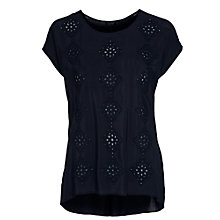 Buy Armani Jeans Diamond Broderie Top, Navy Online at johnlewis.com