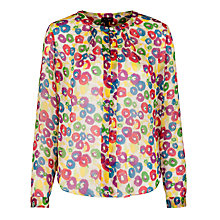 Buy Armani Jeans Collarless Print Blouse, Multi Online at johnlewis.com