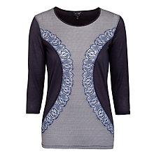 Buy Armani Jeans Lace Contrast Panel 3/4 Jersey Top, Indigo Online at johnlewis.com