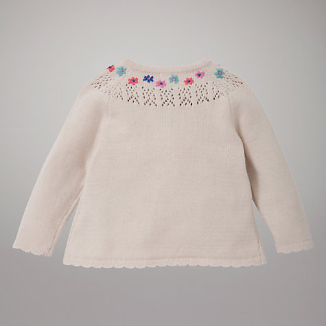 Buy John Lewis Pointelle Flower Cardigan, Cream Online at johnlewis.com