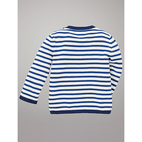 Buy John Lewis Baby Tug Boat Stripe Knit Jumper, Blue Online at johnlewis.com
