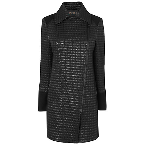 Buy Jaeger Long Textured Biker Coat, Black Online at johnlewis.com