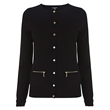 Buy Warehouse Zip Pocket Cardigan, Black Online at johnlewis.com