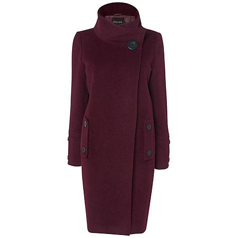 Buy Jaeger Cocoon Coat, Dark Purple Online at johnlewis.com
