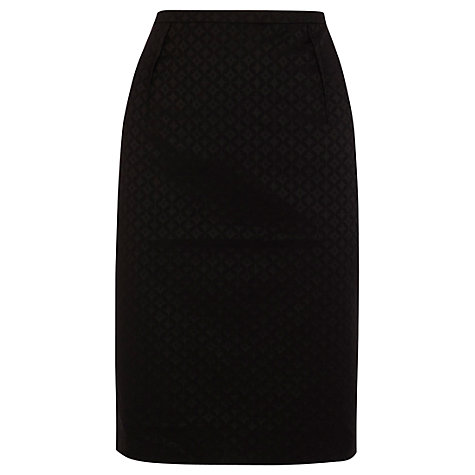 Buy Oasis Jacquard Pencil Skirt, Black Online at johnlewis.com
