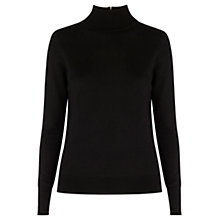 Buy Warehouse Zip Back Polo Jumper, Black Online at johnlewis.com