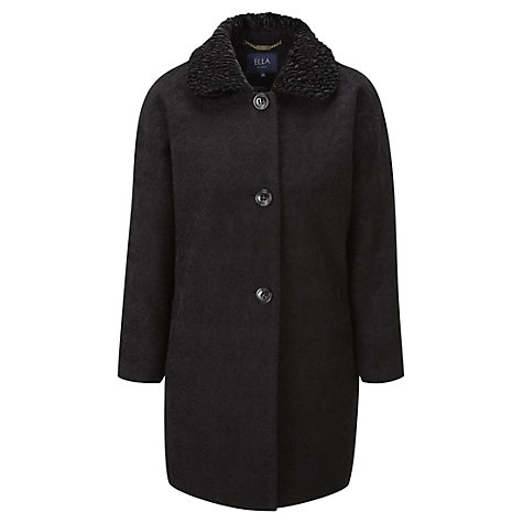 Buy Viyella Ella Faux Fur Collar Jacquard Coat, Black Online at johnlewis.com