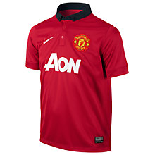 Buy Nike Manchester United Boys' Replica Home Shirt 2013/2014, Red Online at johnlewis.com
