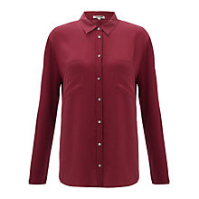 Buy Jigsaw Silk Front Jersey Shirt, Wine Online at johnlewis.com