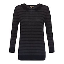 Buy Jigsaw Stripe Collar Jumper, Charcoal Online at johnlewis.com