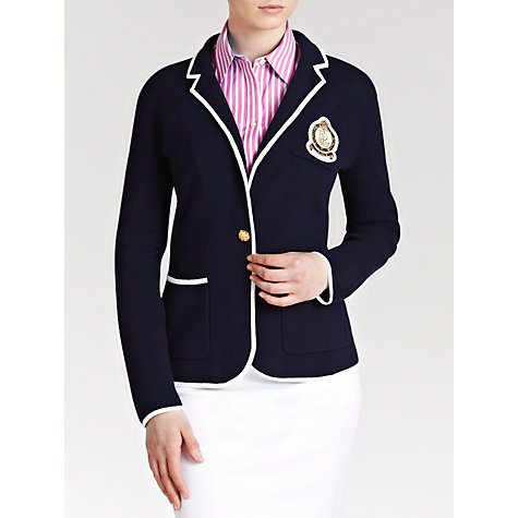 Buy Lauren by Ralph Lauren Crested Cotton Blazer, Capri Navy/White Online at johnlewis.com
