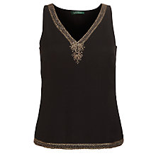 Buy Lauren by Ralph Lauren Metallic-Trim V-Neck Top, Black Online at johnlewis.com