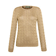 Buy Lauren by Ralph Lauren Long-Sleeved Metallic Crewneck, Imperial Gold Online at johnlewis.com