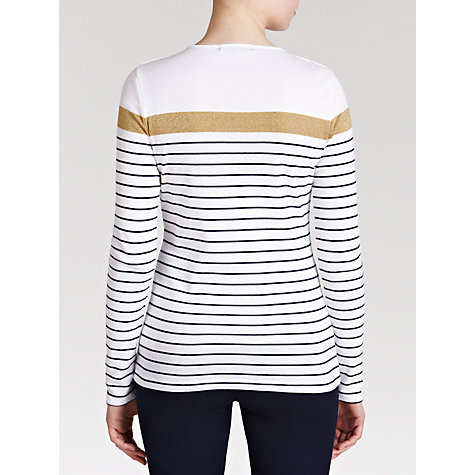 Buy Lauren by Ralph Lauren Striped Cotton Long Sleeve Tee, White/Navy/Gold Online at johnlewis.com