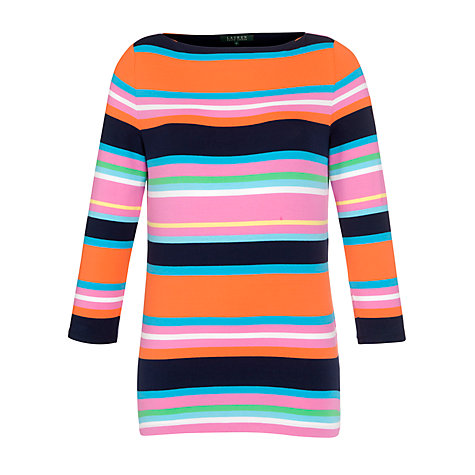 Buy Lauren by Ralph Lauren Striped Boatneck Top, Multi Online at johnlewis.com