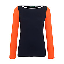 Buy Lauren by Ralph Lauren Long Sleeve Boatneck Top, Capri Navy/White/Vivid Coral Online at johnlewis.com