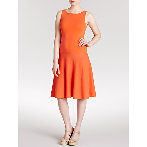 Buy Lauren by Ralph Lauren Sleeveless Boatneck Dress, Vivid Coral Online at johnlewis.com