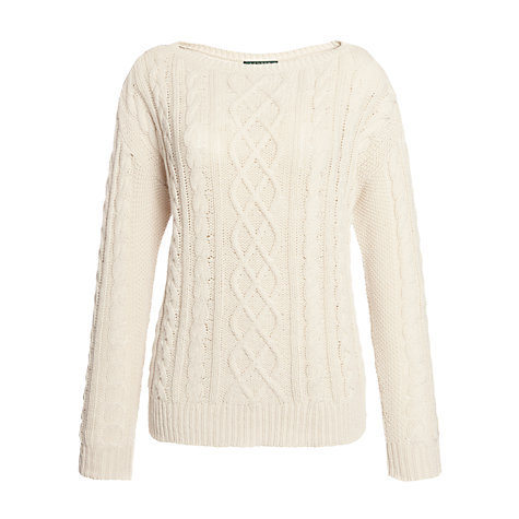Buy Lauren by Ralph Lauren Long-Sleeved Boatneck Jumper, Journey Cream Online at johnlewis.com