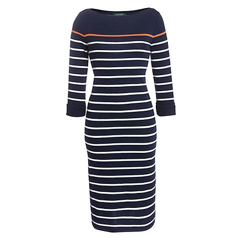 Buy Lauren by Ralph Lauren Striped Cotton Boatneck Dress, Capri Navy/White/Vivid Coral Online at johnlewis.com