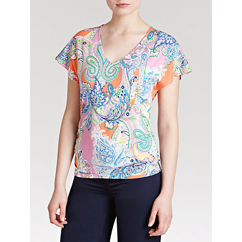 Buy Lauren by Ralph Lauren Short Sleeve Paisley Cotton Tee, Coral Multi Online at johnlewis.com