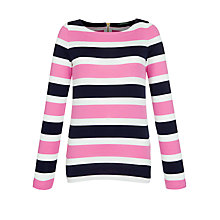 Buy Lauren by Ralph Lauren Cotton Back Zip Tee, Capri Navy/Rendezvous Pink Online at johnlewis.com
