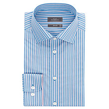 Buy John Lewis Poplin Stripe Tailored Non-Iron Shirt, Blue/Pink Online at johnlewis.com