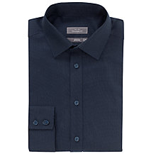 Buy John Lewis Tailored Fit Dobby Non-Iron Shirt, Navy Online at johnlewis.com