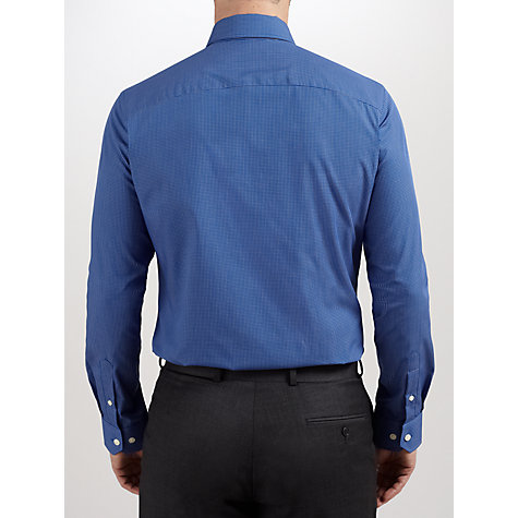 Buy John Lewis Fine Check Tailored Non Iron Shirt, Navy Online at johnlewis.com