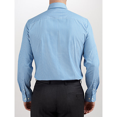 Buy John Lewis Poplin Stripe Tailored Non-Iron Shirt, Blue/White Online at johnlewis.com