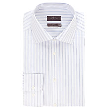 Buy John Lewis Non-Iron Oxford Stripe Long Sleeve Shirt, White/Navy Online at johnlewis.com